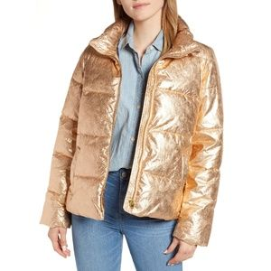 NWT J. Crew Metallic Short Puffer Jacket Primaloft